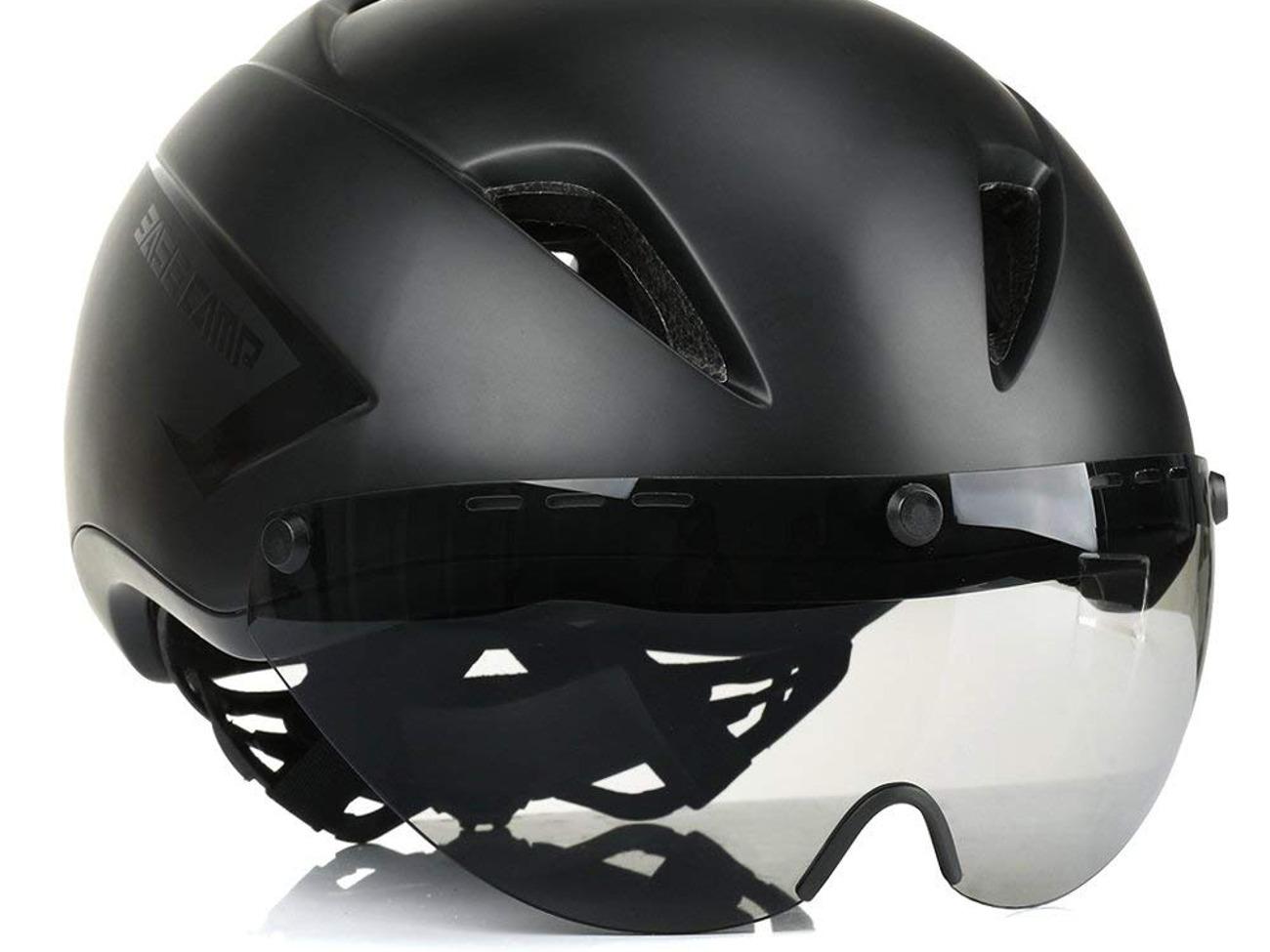 BASE CAMP AIRCROSS Road Bike Helmet with Detachable Shield Visor.
