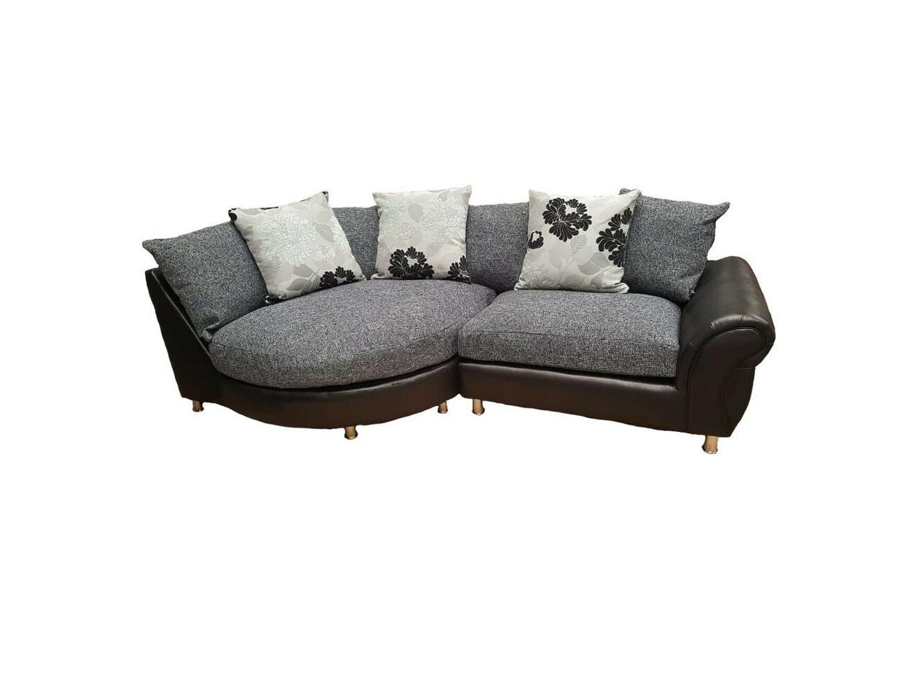 Terrific Buy Brand New Large Elise Corner Sofa In Black Grey Bralicious Painted Fabric Chair Ideas Braliciousco