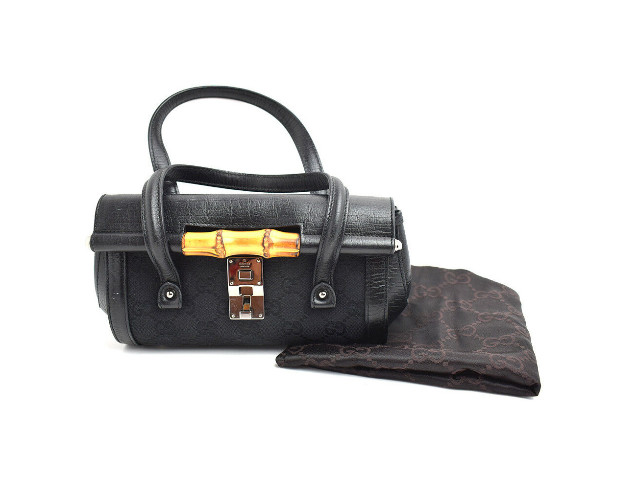 Rent Authentic Gucci Bamboo Collection Canvas And Leather Evening Bag Handbag Black In London Rent For 0 00 Day
