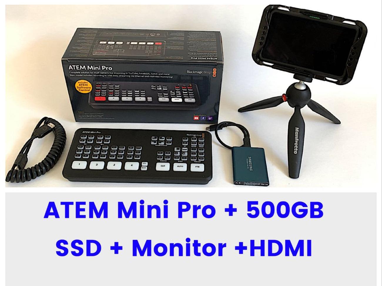 Rent Blackmagic Design Atem Mini Pro 500gb Ssd Monitor In London Rent For 43 00 Day 37 14 Week
