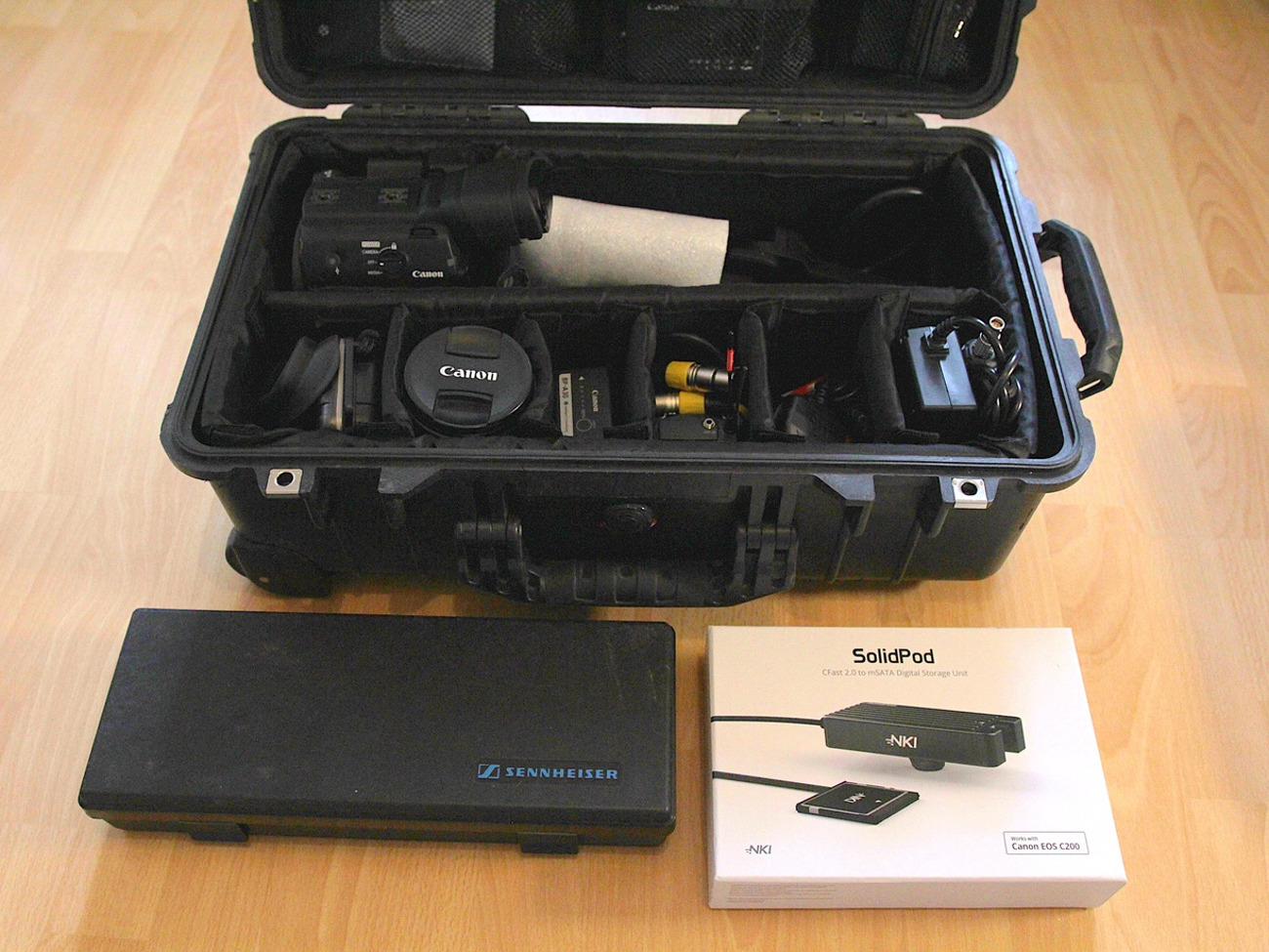 Canon C200 + Manfrotto Tripod + 24-105mm + 1TB Solidpod + Sennheiser G4 and  ME66 Audio Kit