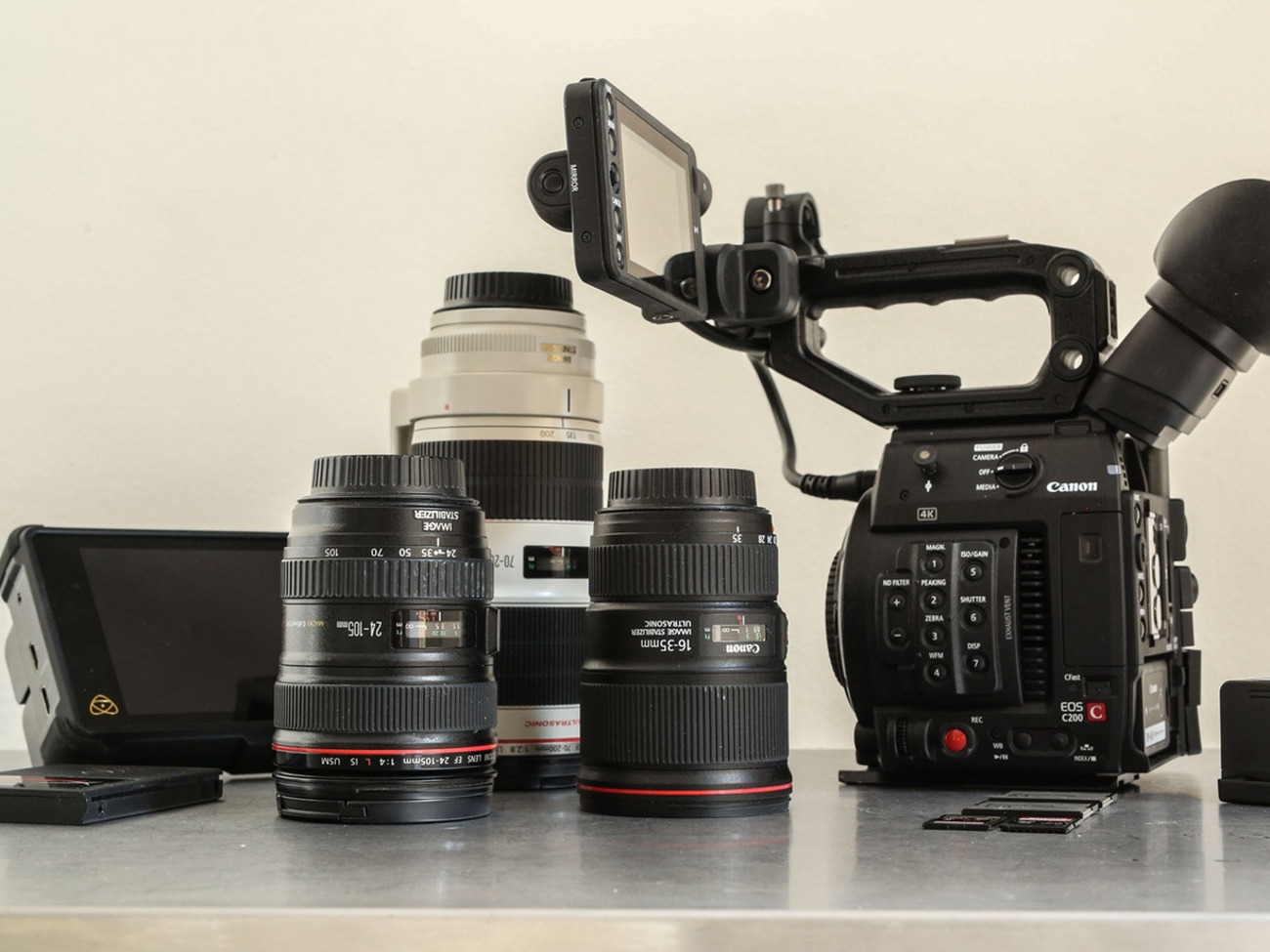 Canon C200  2 x L series lenses  2 5tb = 5 5 hours Cfast Raw Recording   Rode mic  5 batteries = 19 hours recording