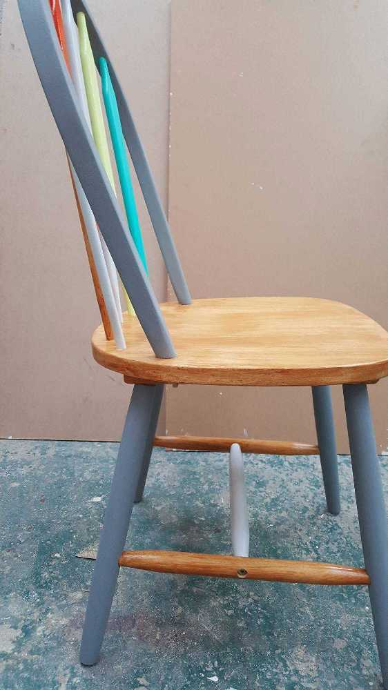 Superb Colourfully Painted Wooden Chairs X2 Home Interior And Landscaping Oversignezvosmurscom