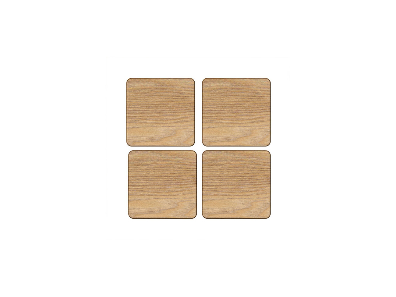10.5 x 10.5 cm 4 x 4 Set of 4 Oak Veneer Coasters by Creative Tops