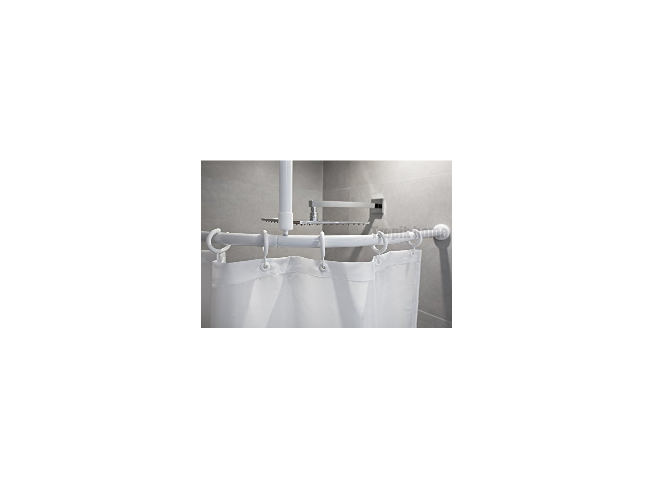 Buy Curved Shower Curtain Rail Pole Rod With Ceiling Bracket