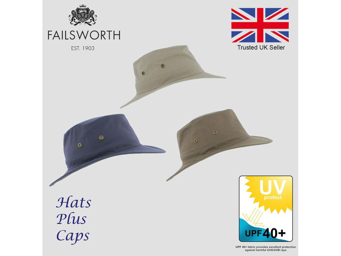 Failsworth Cotton Traveller  Sun Safari Packable Fedora Hat UPF40 Sun Protection