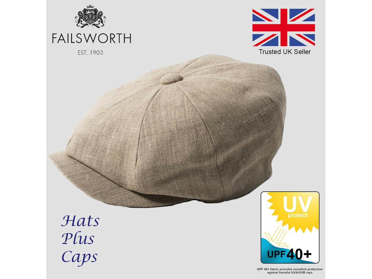 0ae87c45 Buy Failsworth Irish Linen Alfie Summer Newsboy Flat Cap UPF40 Sun Hat  Peaky Blinder   Fat Llama