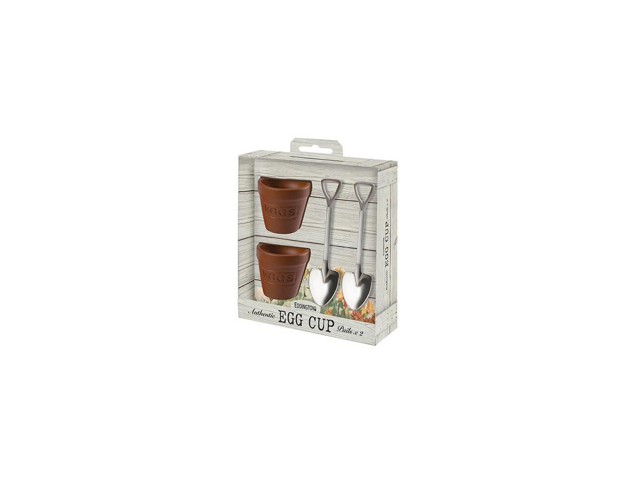 Set of 2 Eddingtons Flower Pot Egg Cups /& Shovel Egg Spoons