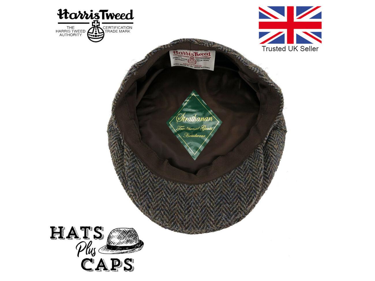 0552f6d45 Buy Harris Tweed Flat Cap Genuine British Made Hat 100% Wool Grey ...