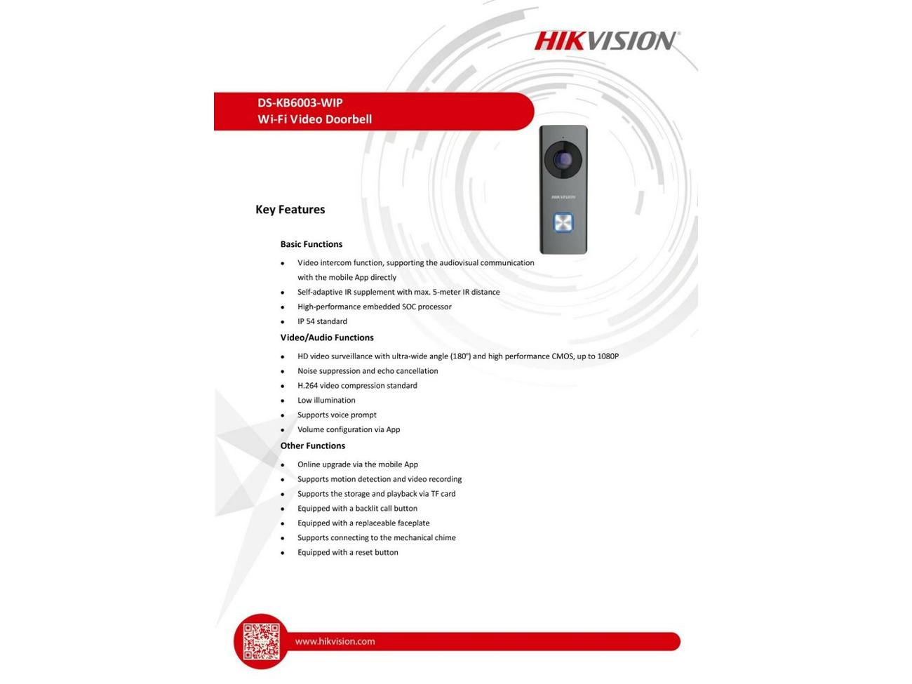 Buy HIKVISION WIFI WIRELESS DOOR BELL 2MP VIDEO INTERCOM