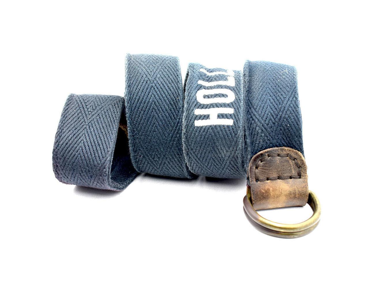 Buy Hollister Mens D Ring Belt Fabric & Leather Blue
