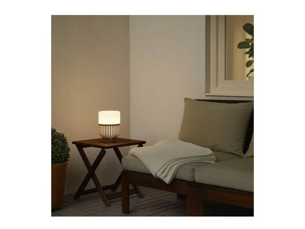 IKEA MULLBACKA Built-in LED Table Lamp Rechargeable Indoor/Outdoor Bamboo  Base