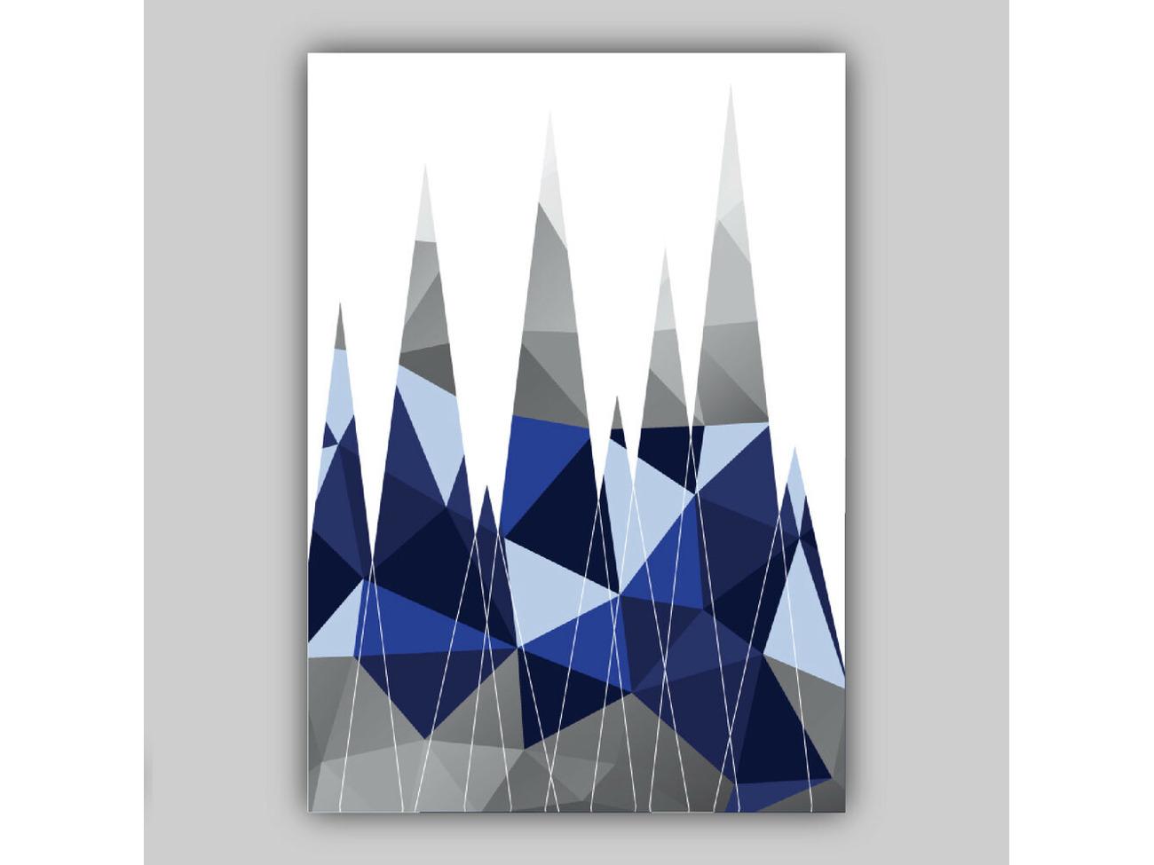 Navy Blue Grey GEOMETRIC MOUNTAINS Art PRINT Poster