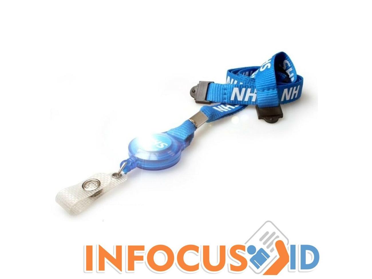 NHS Metal Lobster Clip Double Breakaway Lanyard with Clear Vinyl ID Badge Holder