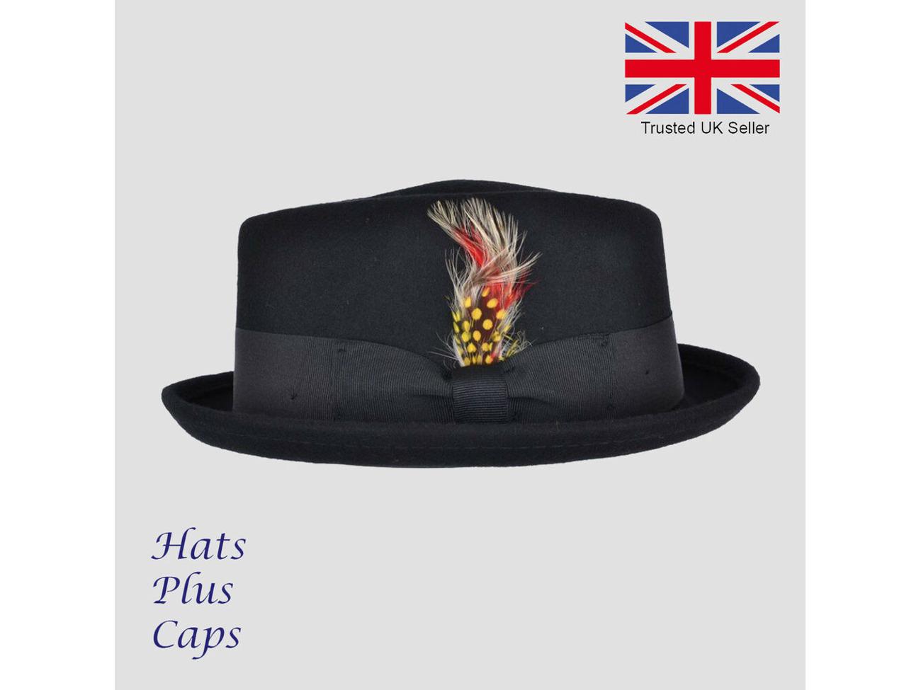 e5fd46ca Buy Pork Pie Hat Handmade 100% Wool Diamond Crown Breaking Bad Heisenberg  Trilby Hat | Fat Llama