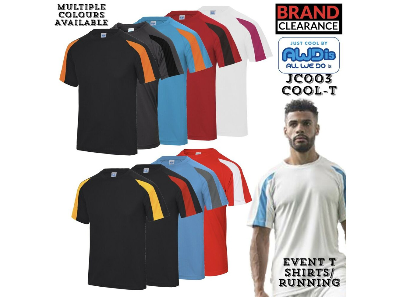 Buy Running T-Shirt Just Cool Event Gym Contrast 100% Polyester Cool
