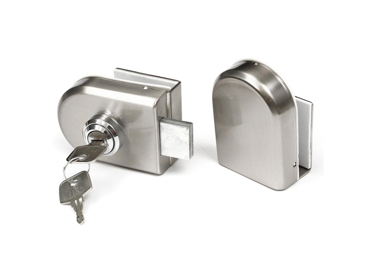 Stainless Steel 12mm Gl Door Lock Double Swing Hinged