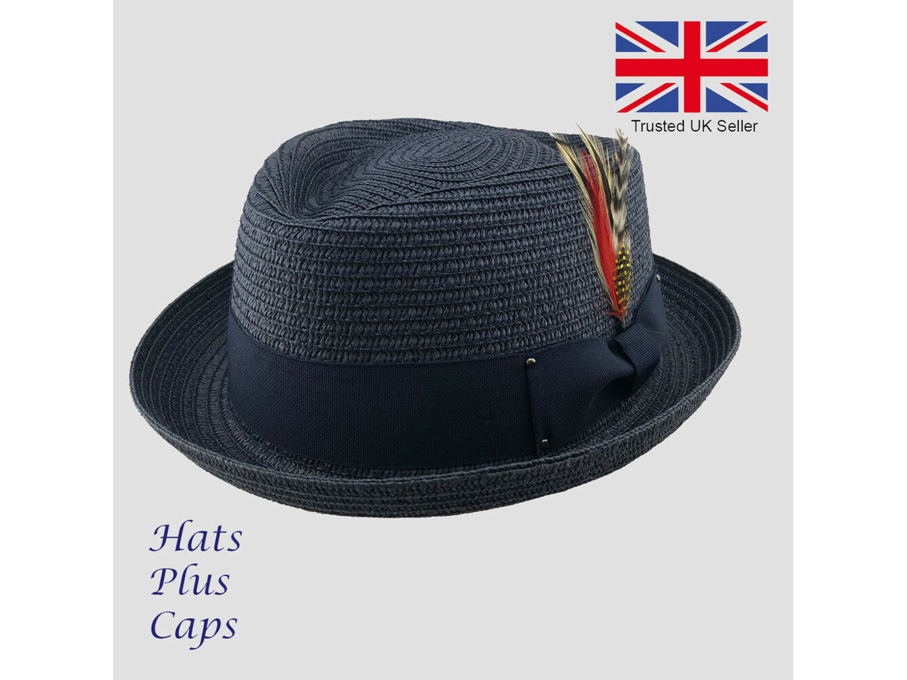 Black Straw Pork Pie Hat Diamond Crown Packable Summer Beach Trilby