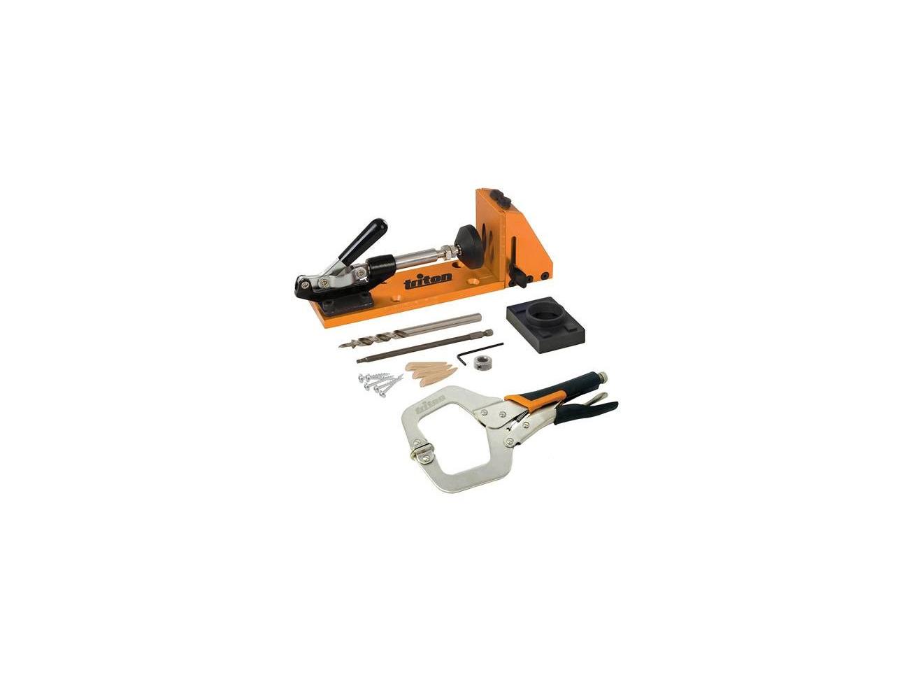 Triton Clamping Pocket-Hole Bench Jig Kit Clamp Screws Plugs /& Drive Bit TW8CPHJ