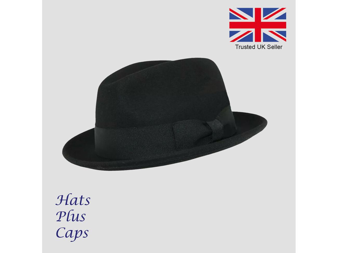 Mens or Boys C-Crown Trilby Hat 100/% Wool Crushable Felt Fedora//Trilby