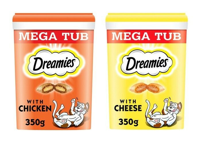 2 xDreamies Cat Treats Mega Tub 350g Cheese+ Chicken Flavours - 1