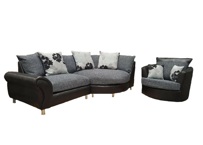 san francisco cf0c6 446f3 Buy ** BRAND NEW** Large Elise Corner Sofa in Black + Grey ...