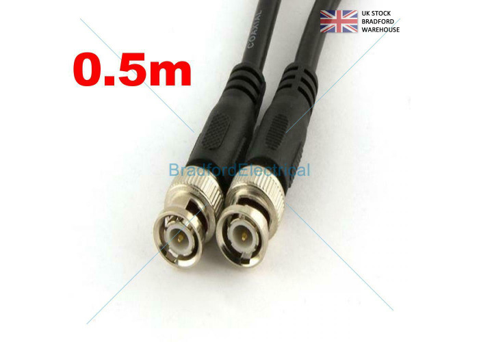 0.5m BNC Patch Leads High Quality RG59 for CCTV Cameras to DVR Video Cable - 1