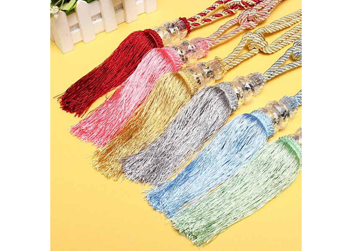1 Pair Crystal Beaded Tassels Tie Back Curtain Cord 6 Colors - 2
