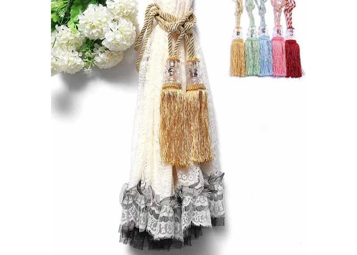 1 Pair Crystal Beaded Tassels Tie Back Curtain Cord 6 Colors - 1