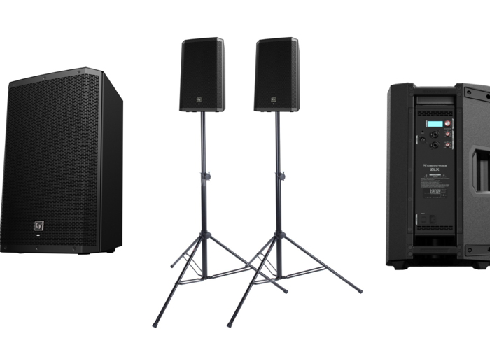 1 Pair EV ZLX 12P Active Speakers With Stands - 1