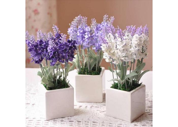 10 Head Bouquet Beautiful Artificial Lavender Silk Flowers - 1