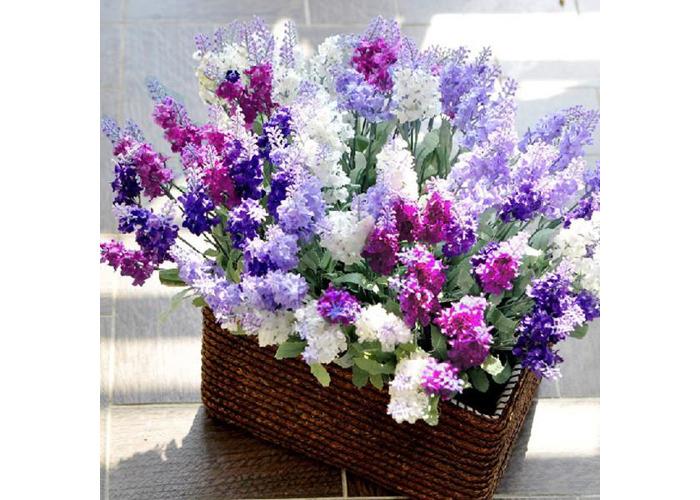 10 Head Bouquet Beautiful Artificial Lavender Silk Flowers - 2