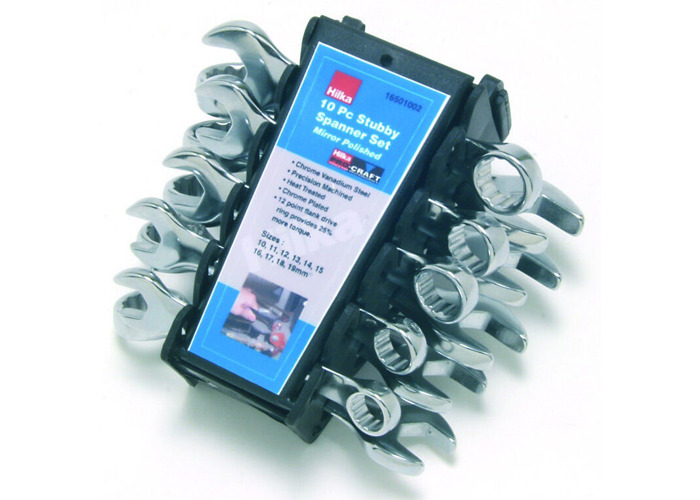 METRIC POLISHED 12 POINT PRO by HILKA 32PC SPANNER SET STUBBY RING SPANNERS AF