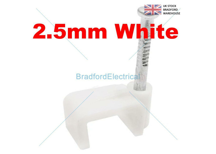 100 QUALITY SCHNEIDER ROUND WHITE CABLE CLIPS FOR TWIN & EARTH CABLES - 2.5MM - 1