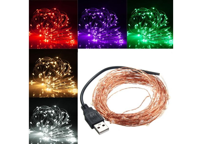 10M 100 LED USB Copper Wire LED String Fairy Light for Christmas Party Decor - 1