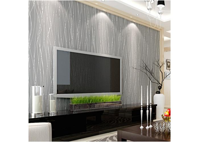 10M Nonwoven Colth Roll Wallpaper Solid Color Irregular Stripe Flannel Home Wall Decor - 1