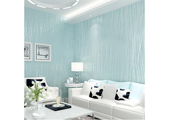 10M Nonwoven Colth Roll Wallpaper Solid Color Irregular Stripe Flannel Home Wall Decor - 2