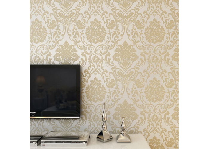 10M Wallpaper Roll 4 Colors Embossed Damask Design Flocked Non-woven Home Wall Decoration - 1
