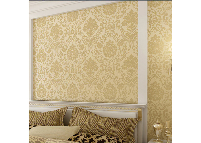 10M Wallpaper Roll 4 Colors Embossed Damask Design Flocked Non-woven Home Wall Decoration - 2