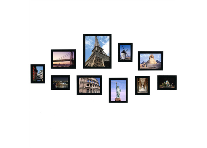 10Pcs Family Picture Multi Photo Frame Set Holds 10 Photos Aperture Wall Mounted - 1