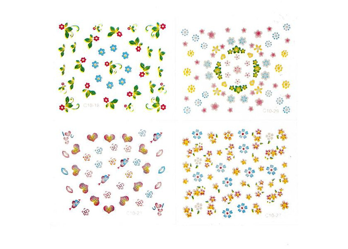 10Sheets 3D Flowers Mixed Nail Art Transfer Stickers - 1