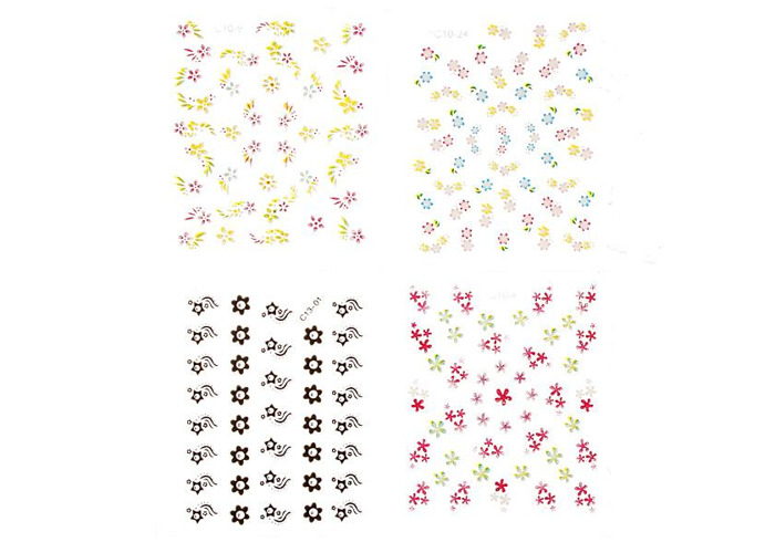 10Sheets 3D Flowers Mixed Nail Art Transfer Stickers - 2