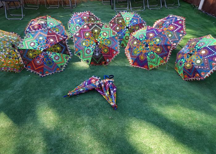 10xIndian cotton party decor umbrellas - 2