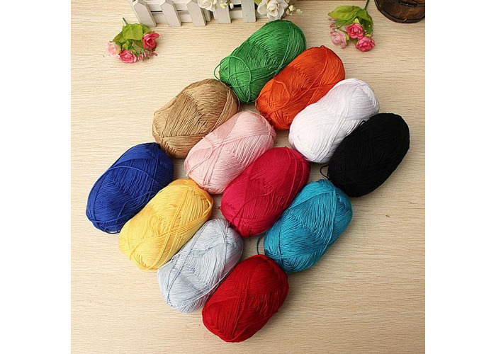 12 Colors Finger Ring Knitting Yarn Smooth Woolen Cotton Bamboo Yarn - 2