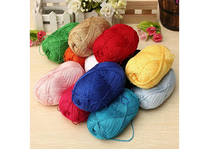 12 Colors Finger Ring Knitting Yarn Smooth Woolen Cotton Bamboo Yarn - 1