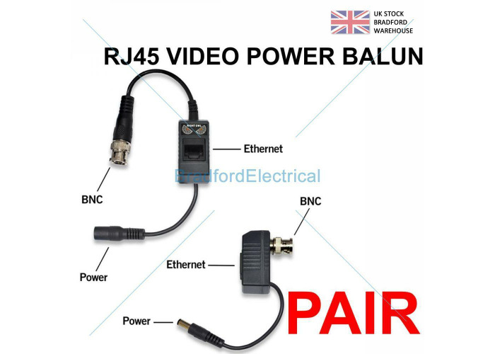 1-20 Pairs BNC To RJ45 Cat5e 6 Video Data Power Balun For HD CCTV PTZ Camera PVD - 2