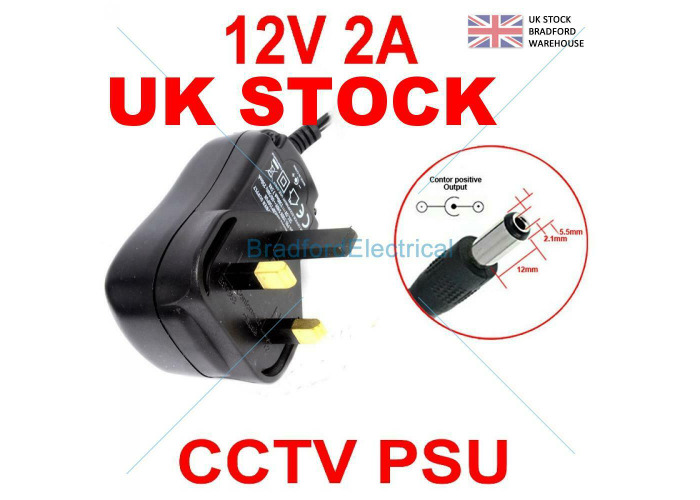 12V 2A AC to DC Adapter Charger Power Supply for LED light CCTV Camera UK Plug - 1