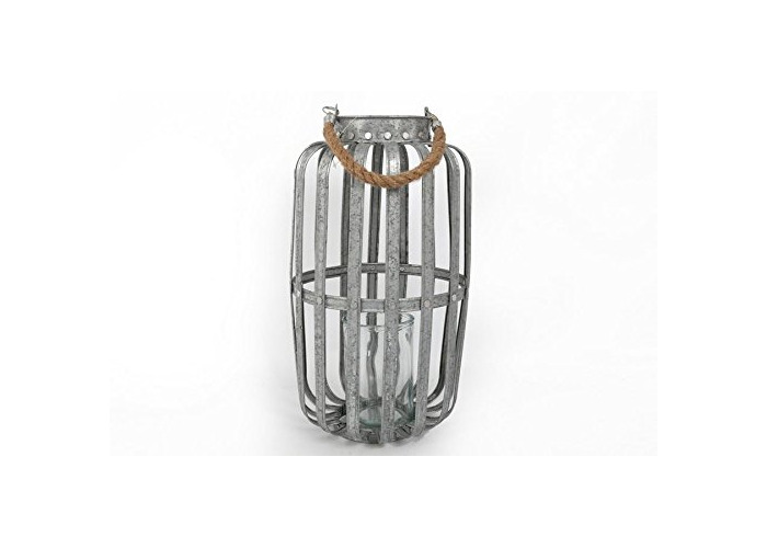 12X42CM GALVANISED CANDLE LANTERN HANGING ROPE HOME DECORATION - 1