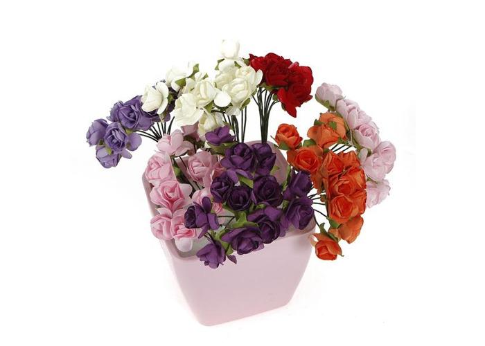 144Pcs Wedding Scrapbooking DIY Handmade Mini Paper Flowers - 1