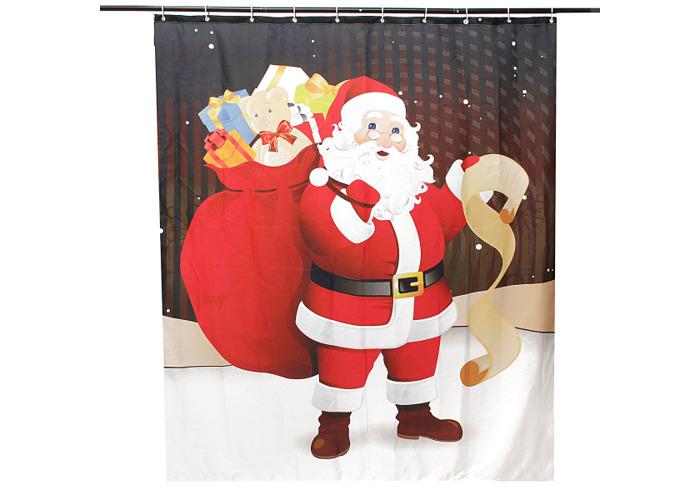 150x180cm Santa Claus Waterproof Shower Curtain Bathroom Christmas Decor with 12 Hooks - 2